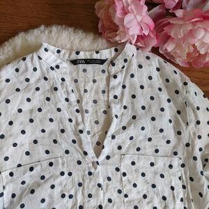 Zara Polka dot linen button up blouse
